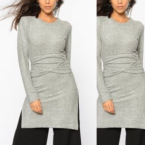 Gray Marled Twist-Front Split-Hem Tunic